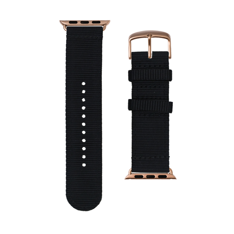 Nylon Watch band in black for the Apple Watch Series 1, 2, 3 & 4 in 38mm, 40mm, 42mm & 44mm case size by Roobaya - Made in Germany – Bild 3