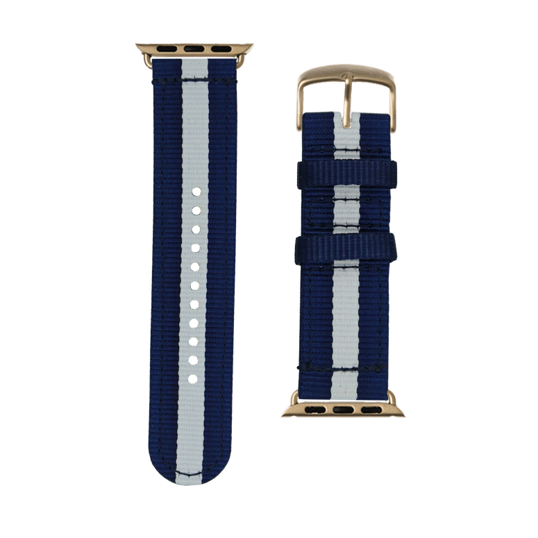 Nylon Watch band in dark blue / white for the Apple Watch Series 1, 2, 3 & 4 in 38mm, 40mm, 42mm & 44mm case size by Roobaya - Made in Germany – Bild 3
