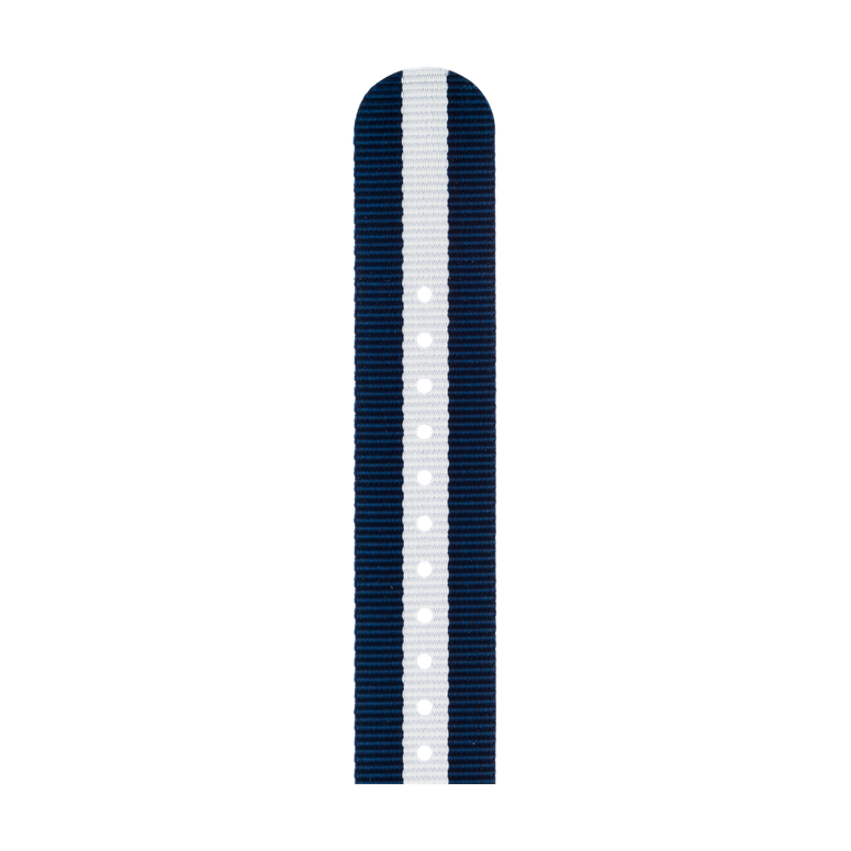 Nylon Watch band in dark blue / white for the Apple Watch Series 1, 2, 3 & 4 in 38mm, 40mm, 42mm & 44mm case size by Roobaya - Made in Germany – Bild 5