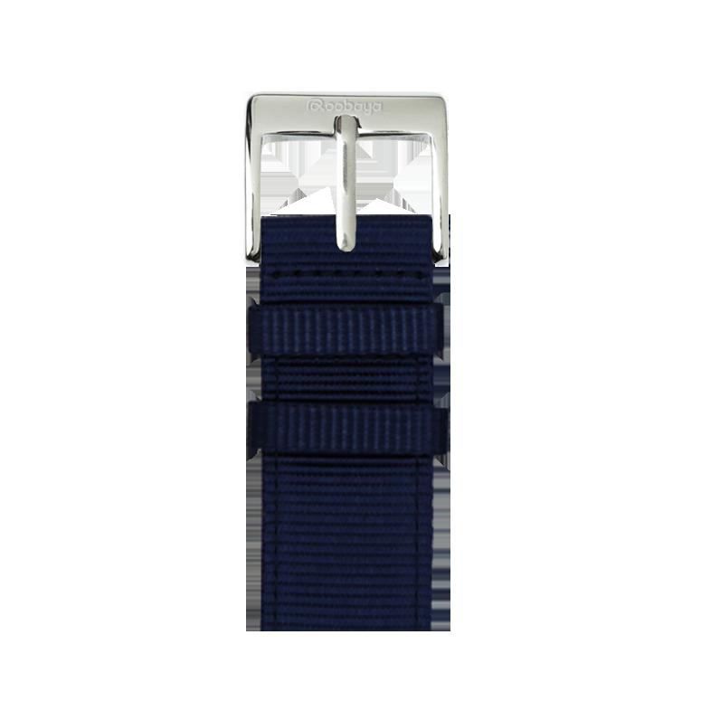 Bracelet Apple Watch nylon bleu foncé/blanc | Roobaya – Bild 1