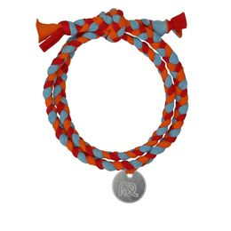 Bracelet en tissu rouge / bleu clair / orange de Roobaya - Handmade in Germany