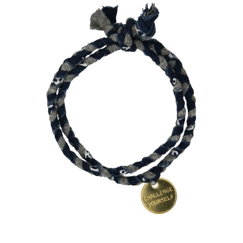Bracelet en tissu bleu foncé / gris de Roobaya - Handmade in Germany – Bild 4