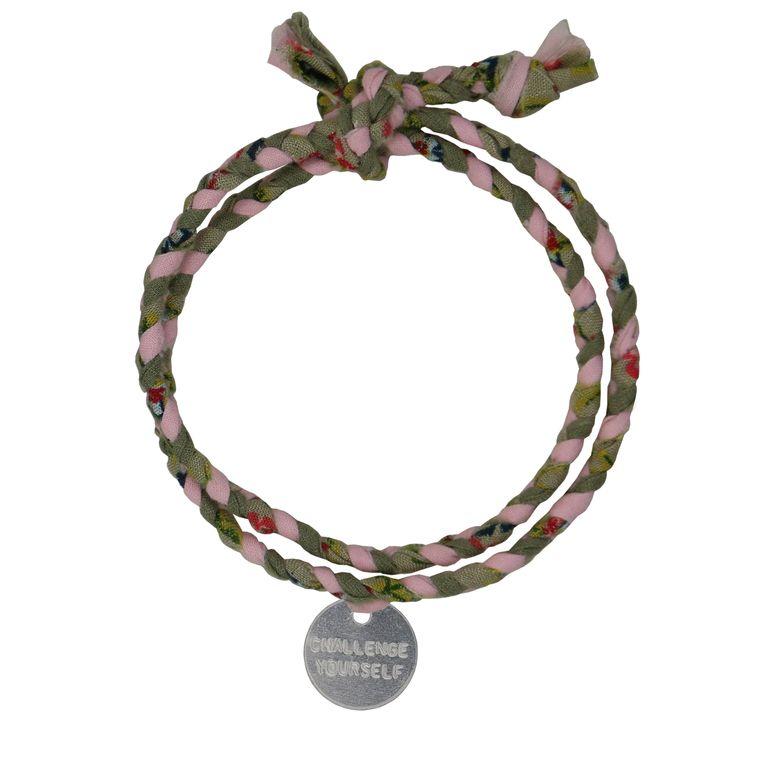 Stoff-Armband in Rosa / Olivgrün von Roobaya - Handmade in Germany – Bild 3