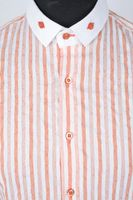 Extravagantes Hemd Gr. L Orange/Weiß gestreift Kurzarm – Bild 2