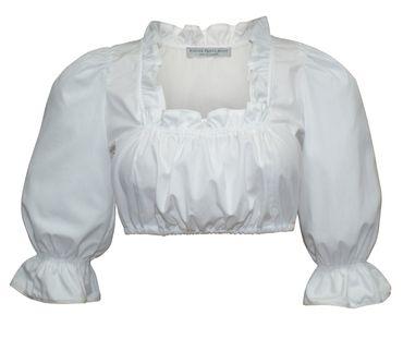 Dirndlbluse langarm Trachtenbluse für Dirndl Bluse Trachten Mode weiß waschbar  – Bild 1
