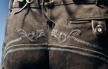 Lederhose Trachtenhose Trachtenlederhose lang braun Träger Trachten Leder Hose – Bild 8
