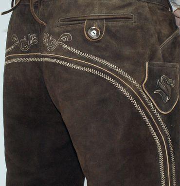 Lederhose Trachtenhose Trachtenlederhose lang braun Träger Trachten Leder Hose – Bild 4
