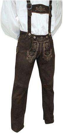 Lederhose Trachtenhose Trachtenlederhose lang braun Träger Trachten Leder Hose