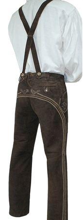 Lederhose Trachtenhose Trachtenlederhose lang braun Träger Trachten Leder Hose – Bild 2