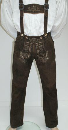 Lederhose Trachtenhose Trachtenlederhose lang braun Träger Trachten Leder Hose – Bild 12