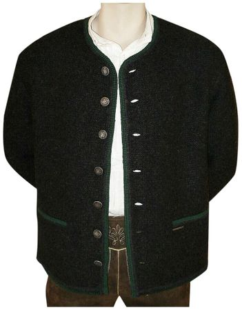 Trachten Strickweste Strickjacke Woll-Jacke Trachtenjacke Trachtenjanker du.grau