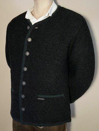 Trachten Strickweste Strickjacke Woll-Jacke Trachtenjacke Trachtenjanker du.grau – Bild 4