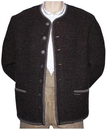 Trachten Strickweste Strickjacke Woll-Jacke Trachtenjacke Trachtenjanker braun