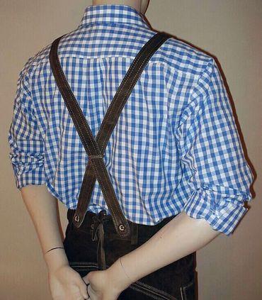 Gr.S 37/38 Trachtenhemd Karo-Hemd Trachten-Pfoadl Karohemd blau kariert – Bild 4