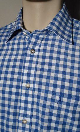 Gr.S 37/38 Trachtenhemd Karo-Hemd Trachten-Pfoadl Karohemd blau kariert – Bild 5
