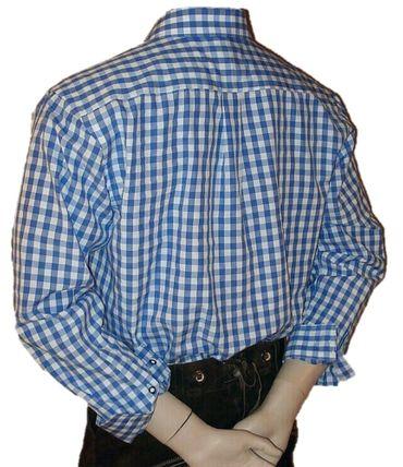 Gr.S 37/38 Trachtenhemd Karo-Hemd Trachten-Pfoadl Karohemd blau kariert – Bild 2