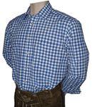 Gr.S 37/38 Trachtenhemd Karo-Hemd Trachten-Pfoadl Karohemd blau kariert