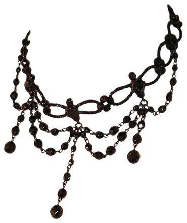 Dirndl-Kette Collier Kropfkette Trachtenkette Trachtenschmuck Perlen schwarz – Bild 1