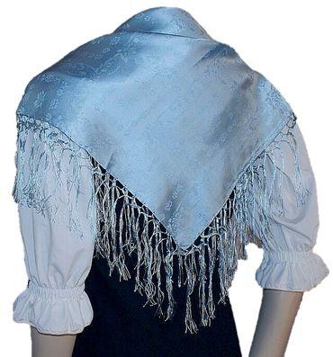 Seidentuch Dirndl-Trachtentuch Tuch blau 75x75cm Dirndltuch Seide Fransentuch – Bild 7