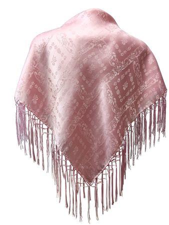 Seidentuch Dirndl-Trachtentuch Tuch rosa 75x75cm Dirndltuch Seide Fransentuch – Bild 1