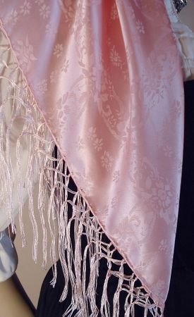 Seidentuch Dirndl-Trachtentuch Tuch rosa 75x75cm Dirndltuch Seide Fransentuch – Bild 4