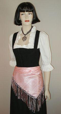 Seidentuch Dirndl-Trachtentuch Tuch rosa 75x75cm Dirndltuch Seide Fransentuch – Bild 5