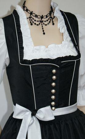 Fest-Dirndl Festtracht Trachten-Kleid Trachtenkleid Dirndlkleid schwarz-weiß – Bild 9