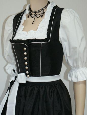 Fest-Dirndl Festtracht Trachten-Kleid Trachtenkleid Dirndlkleid schwarz-weiß – Bild 6