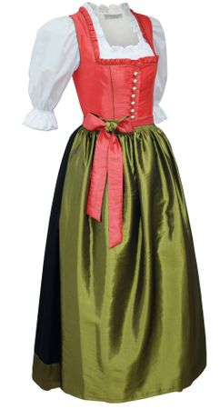 Dirndl Festtracht Trachten-Kleid Trachtenkleid Dirndlkleid koralle orange grün