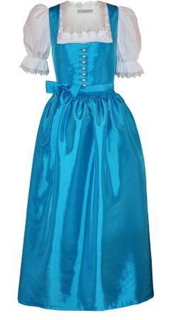 Dirndl Festtracht Trachten-Kleid Trachtenkleid Dirndlkleid Ballkleid türkis-blau
