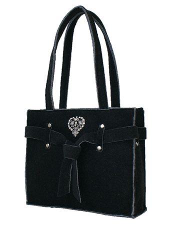 Trachtentasche Filz Tasche Filztasche Shoppertasche Handtasche groß schwarz  – Bild 1