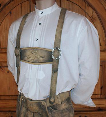 Trachtenhemd Stehkragen Trachten-Pfoadl Hemd Hirtenhemd Trachtenpfoadl weiß – Bild 4