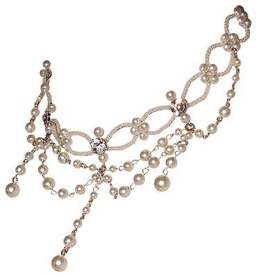 Dirndl-Kette Collier Kropfkette Trachtenkette Perlenkette Trachtenschmuck weiß – Bild 1