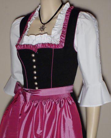 Dirndl Festtracht Trachten-Kleid Trachtenkleid Dirndlkleid schwarz fuchsia rosa – Bild 4