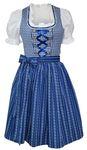 Dirndl-Kleid Baumwolle Trachtenkleid Dirndlkleid Baumwolldirndl Karo blau 001