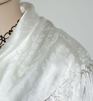Seidentuch Dirndl-Trachtentuch Tuch weiß 75x75cm Dirndltuch Seide Fransentuch – Bild 5