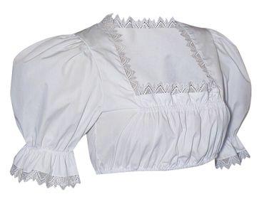 Dirndlbluse Spitzenbluse Bluse für Dirndl Tracht Spitzen Trachtenbluse weiß – Bild 1