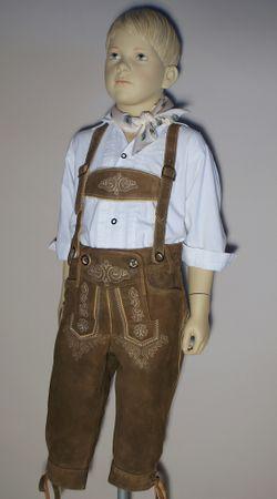 Trachten-Kinderlederhose Kinder-Lederhose Leder-Hose Kniebund Trachtenhose braun – Bild 5