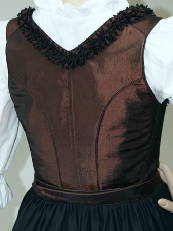 Designer Mieder-Dirndl Festtracht Kleid Trachtenkleid Dirndlkleid bronze braun – Bild 6