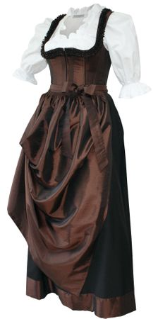 Designer Mieder-Dirndl Festtracht Kleid Trachtenkleid Dirndlkleid bronze braun