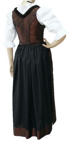 Designer Mieder-Dirndl Festtracht Kleid Trachtenkleid Dirndlkleid bronze braun – Bild 2