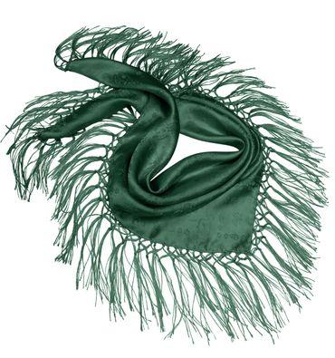 Seidentuch Dirndl-Trachtentuch Tuch grün 75 x 75cm Dirndltuch Seide Fransentuch – Bild 2