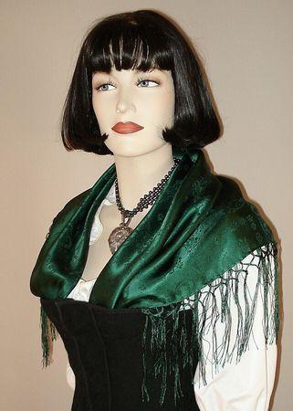 Seidentuch Dirndl-Trachtentuch Tuch grün 75 x 75cm Dirndltuch Seide Fransentuch – Bild 5