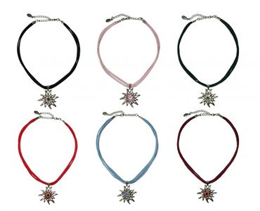 Trachtenkette Dirndl Edelweiß edle Halskette Trachten Kette Swarovski-Elements – Bild 1