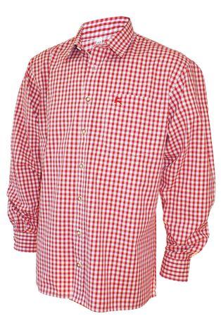 Trachtenhemd Karo-Hemd Trachten-Pfoadl Karohemd rot kariert Herrenhemd langarm – Bild 1