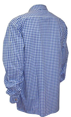 Trachtenhemd Karo-Hemd Trachten-Pfoadl Karohemd blau kariert Herrenhemd langarm – Bild 2