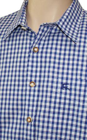 Trachtenhemd Karo-Hemd Trachten-Pfoadl Karohemd blau kariert Herrenhemd langarm – Bild 6