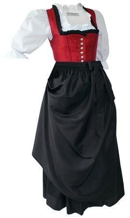 Fest-Dirndl Festtracht Trachten-Kleid Trachtenkleid Dirndlkleid Ballkleid rot – Bild 1