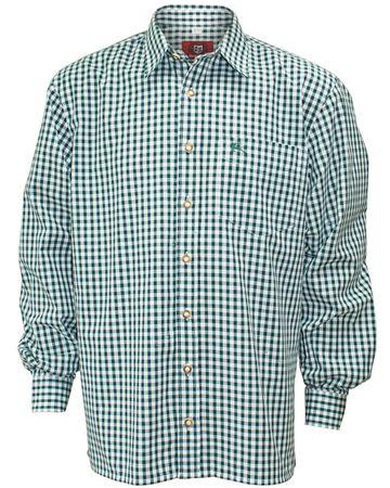 Trachtenhemd Karo-Hemd Trachten-Pfoadl Karohemd grün kariert Herrenhemd langarm – Bild 4