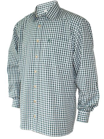 Trachtenhemd Karo-Hemd Trachten-Pfoadl Karohemd grün kariert Herrenhemd langarm – Bild 1